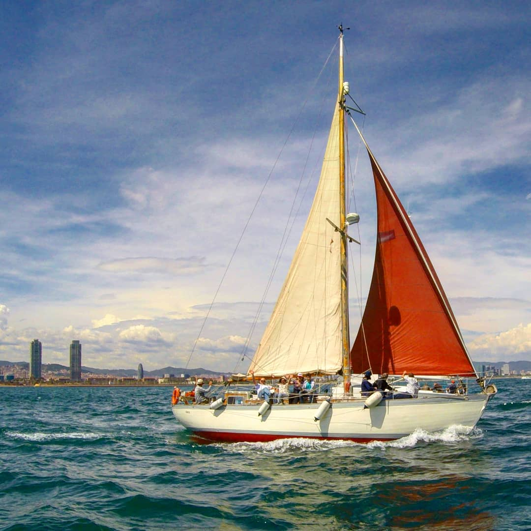 Gemini sailing in front of the Barcelona coast